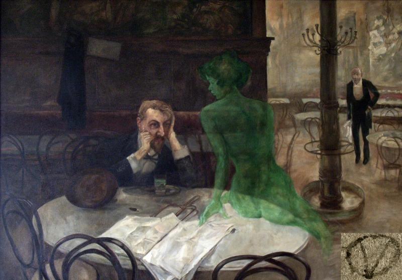 """The Absinthe Drinker por Viktor Oliva (1901).  O absinto foi apelidado de """"Fada Verde""""."""
