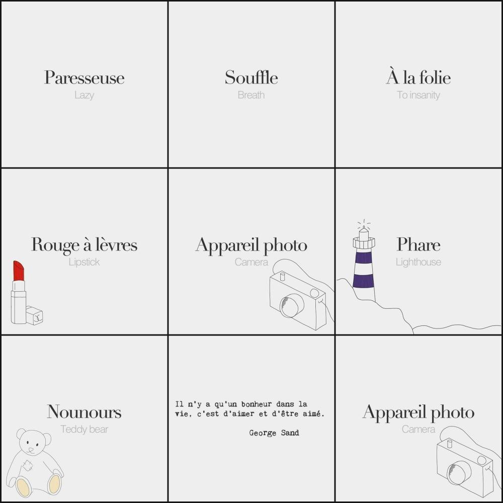 colagem french words