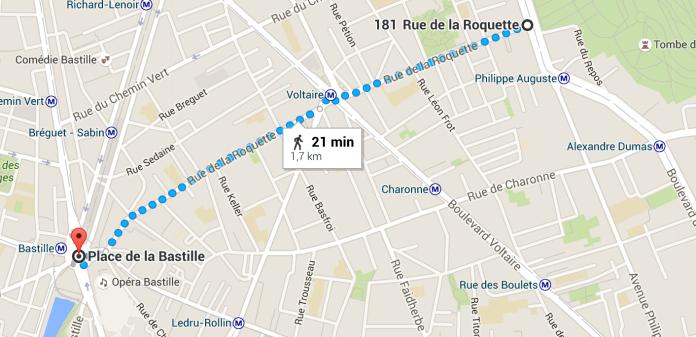 Caminho entre Cemitério Père Lachaise até Praça da Bastilha.